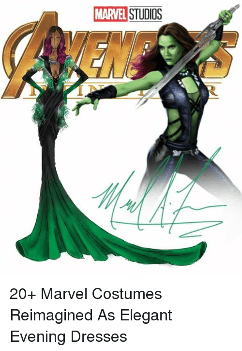 Dresses, Marvel, and Marvel Studios: MARVEL STUDIOS 20+ Marvel Costumes Reimagined As Elegant Evening Dresses