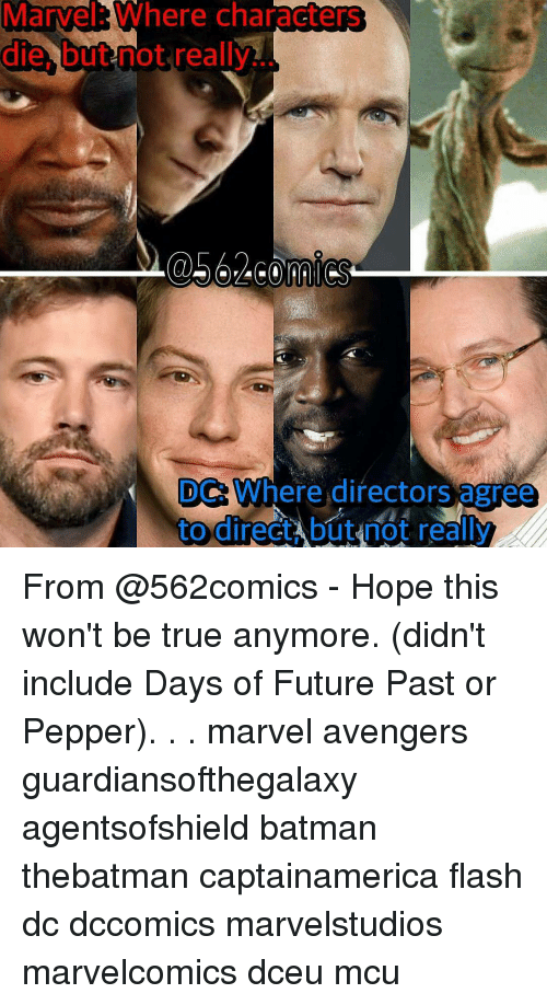 Batman, Future, and Memes: Marvel Where characters  die but not really  DC Where directors agree  to direct Abut not really From @562comics - Hope this won't be true anymore. (didn't include Days of Future Past or Pepper). . . marvel avengers guardiansofthegalaxy agentsofshield batman thebatman captainamerica flash dc dccomics marvelstudios marvelcomics dceu mcu