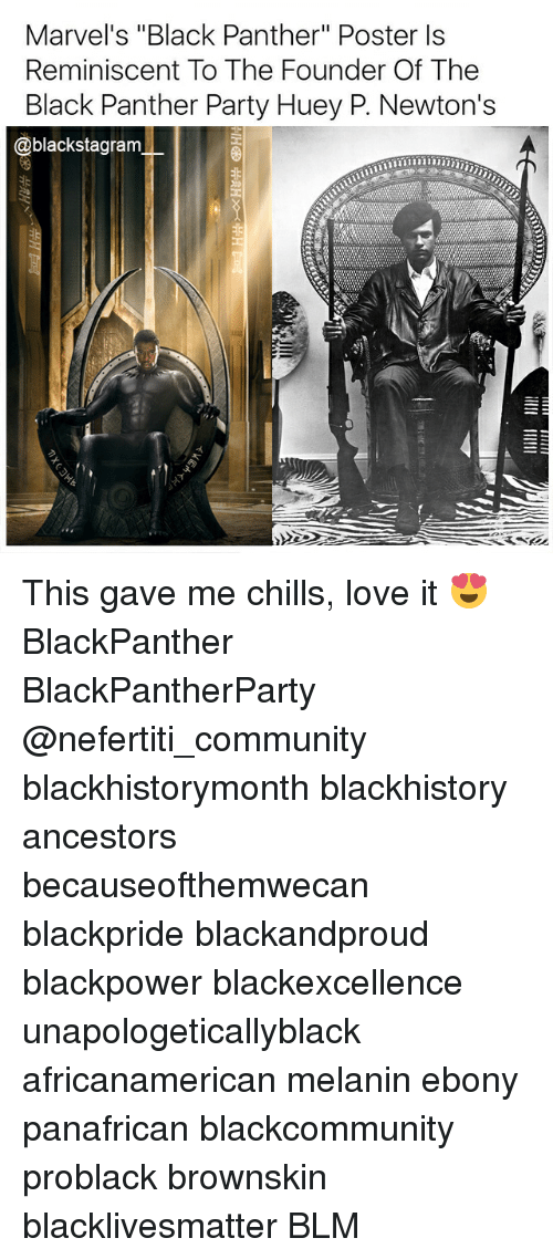 "Blackhistory, Black Lives Matter, and Community: Marvel's ""Black Panther"" Poster ls  Reminiscent To The Founder Of The  Black Panther Party Huey P. Newton's  @blackstagram This gave me chills, love it 😍 BlackPanther BlackPantherParty @nefertiti_community blackhistorymonth blackhistory ancestors becauseofthemwecan blackpride blackandproud blackpower blackexcellence unapologeticallyblack africanamerican melanin ebony panafrican blackcommunity problack brownskin blacklivesmatter BLM"