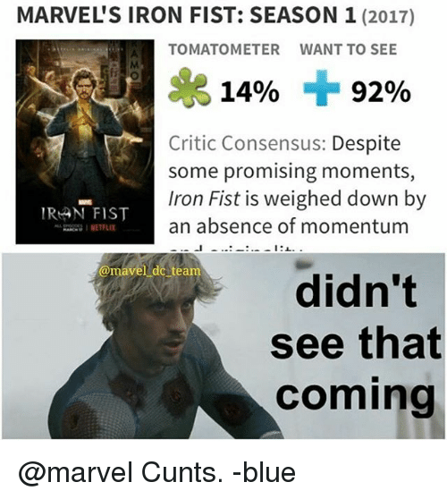 marvels iron fist season 1 2017 tomatometer want to see 15987179 marvel's iron fist season 1 2017 tomatometer want to see 14% 92,Iron Fist Meme