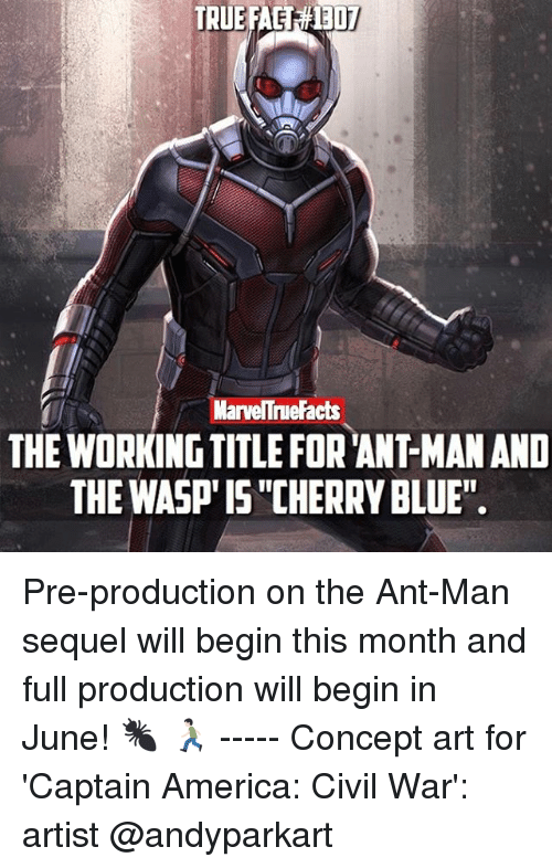 """Captain America: Civil War, Memes, and Civil War: MarvelTnue Facts  THE WORKING TITLE FORANTMANAND  THE WASP ISCHERRYBLUE"""". Pre-production on the Ant-Man sequel will begin this month and full production will begin in June! 🐜 🏃🏻 ----- Concept art for 'Captain America: Civil War': artist @andyparkart"""