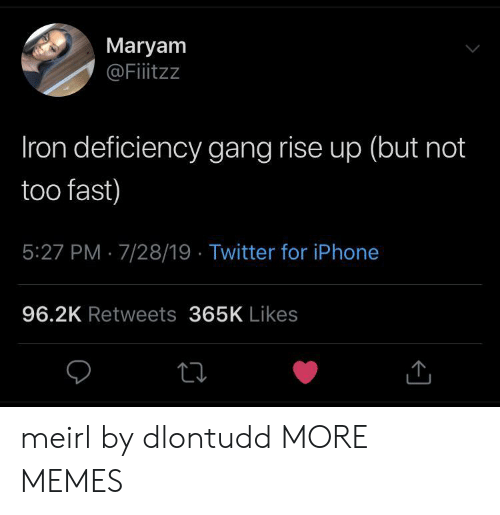 rise up: Maryam  @Fiitzz  Iron deficiency gang rise up (but not  too fast)  5:27 PM 7/28/19 Twitter for iPhone  96.2K Retweets 365K Likes meirl by dlontudd MORE MEMES