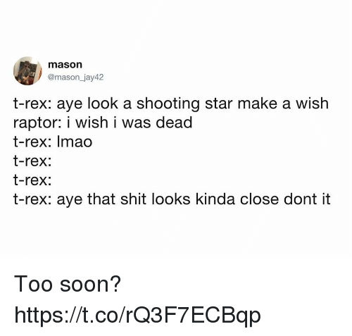 Funny, Shit, and Soon...: mason  @mason_jay42  t-rex: aye look a shooting star make a wish  raptor: i wish i was dead  t-rex: Imao  t-rex:  t-rex:  t-rex: aye that shit looks kinda close dont it Too soon? https://t.co/rQ3F7ECBqp