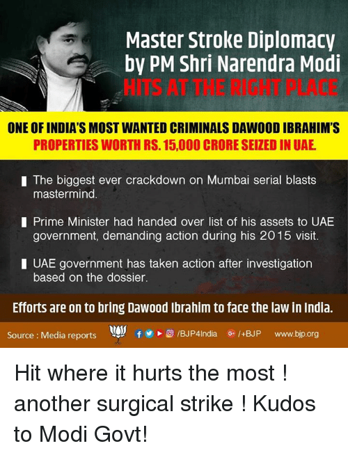 Narendra Modi: Master Stroke Diplomacy  by PM Shri Narendra Modi  ONE OF INDIA'S MOST WANTED CRIMINALS DAW00D IBRAHIM'S  PROPERTIES WORTH RS. 15,000 CRORE SEIZEDIN UAE  I The biggest ever crackdown on Mumbai serial blasts  mastermind  I Prime Minister had handed over list of his assets to UAE  government, demanding action during his 2015 visit.  I UAE government has taken action after investigation  based on the dossier.  Efforts are on to bring Dawood Ibrahim to face the law in India.  G. /+BJP  www.bjp.org  Source Media reports Hit where it hurts the most ! another surgical strike ! Kudos to Modi Govt!