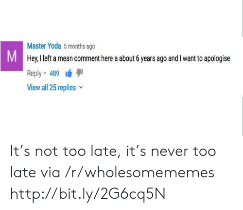master yoda: Master Yoda 5 months ago  M Hey, I left a mean comment here a about 6 years ago and I want to apologise  Reply 489  View all 25 replies It's not too late, it's never too late via /r/wholesomememes http://bit.ly/2G6cq5N