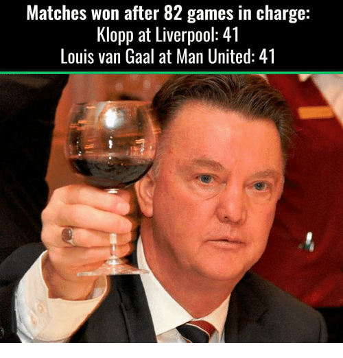 Memes, 🤖, and Man United: Matches won after 82 games in charge:  Klopp at Liverpool 4 l  Louis van Gaal at Man United: 41