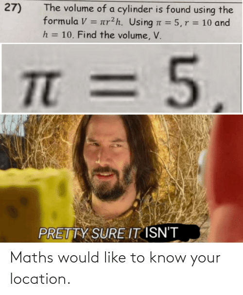 Know Your: Maths would like to know your location.