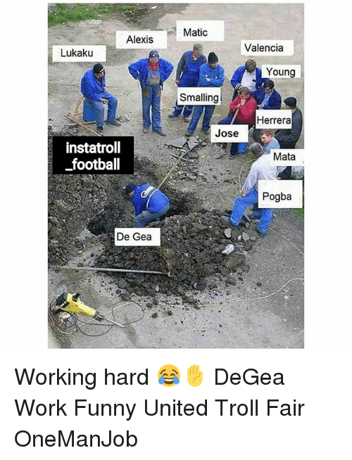 Football, Funny, and Memes: Matic  Alexis  Valencia  Lukaku  Young  Smalling  Herrera  Jose  instatroll  football  Mata  Pogba  De Gea Working hard 😂✋ DeGea Work Funny United Troll Fair OneManJob