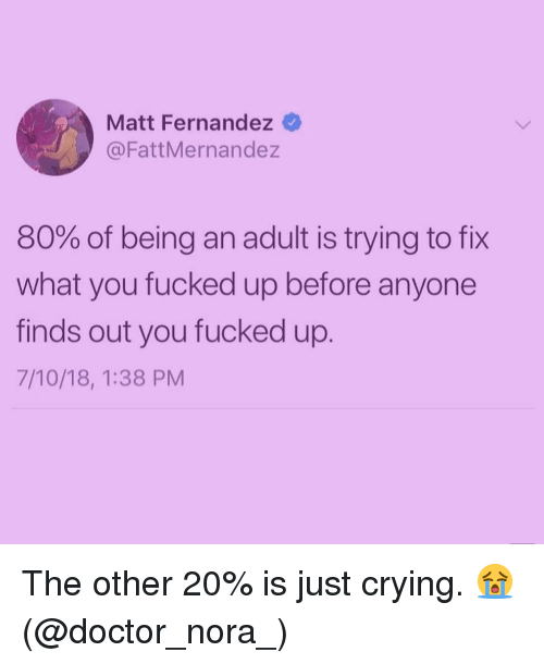 nora: Matt Fernandez  @FattMernandez  80% of being an adult is trying to fix  what you fucked up before anyone  finds out you fucked up.  7/10/18, 1:38 PM The other 20% is just crying. 😭 (@doctor_nora_)