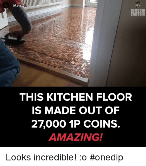giles: Matt Giles  FACTS!!!  THIS KITCHEN FLOOR  IS MADE OUT OF  27000 1P COINS.  AMAZING! Looks incredible! :o #onedip
