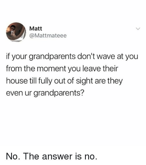 Memes, House, and Out of Sight: Matt  @Mattmateee  if your grandparents don't wave at you  from the moment you leave their  house till fully out of sight are they  even ur grandparents? No. The answer is no.