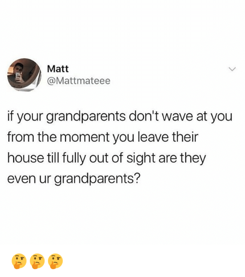 Memes, House, and Out of Sight: Matt  @Mattmateee  if your grandparents don't wave at you  from the moment you leave their  house till fully out of sight are they  even ur grandparents? 🤔🤔🤔