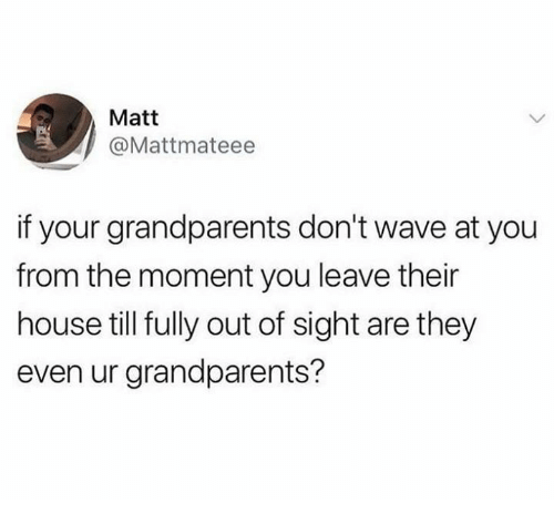 Dank, House, and Out of Sight: Matt  @Mattmateee  if your grandparents don't wave at you  from the moment you leave their  house till fully out of sight are they  even ur grandparents?