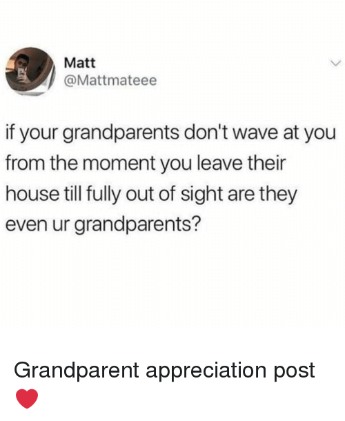 Grandparent: Matt  @Mattmateee  if your grandparents don't wave at you  from the moment you leave their  house till fully out of sight are they  even ur grandparents? Grandparent appreciation post ❤