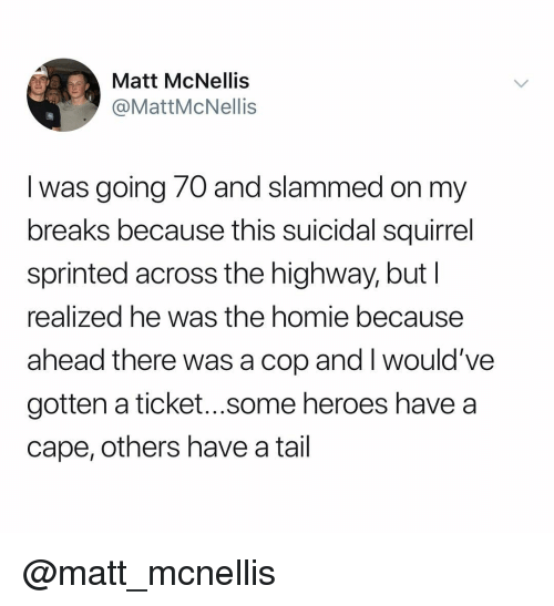 Homie, Heroes, and Squirrel: Matt McNellis  @MattMcNellis  I was going 70 and slammed on my  breaks because this suicidal squirrel  sprinted across the highway, but  realized he was the homie because  ahead there was a cop and I would've  gotten a ticket...some heroes have a  cape, others have a tail @matt_mcnellis