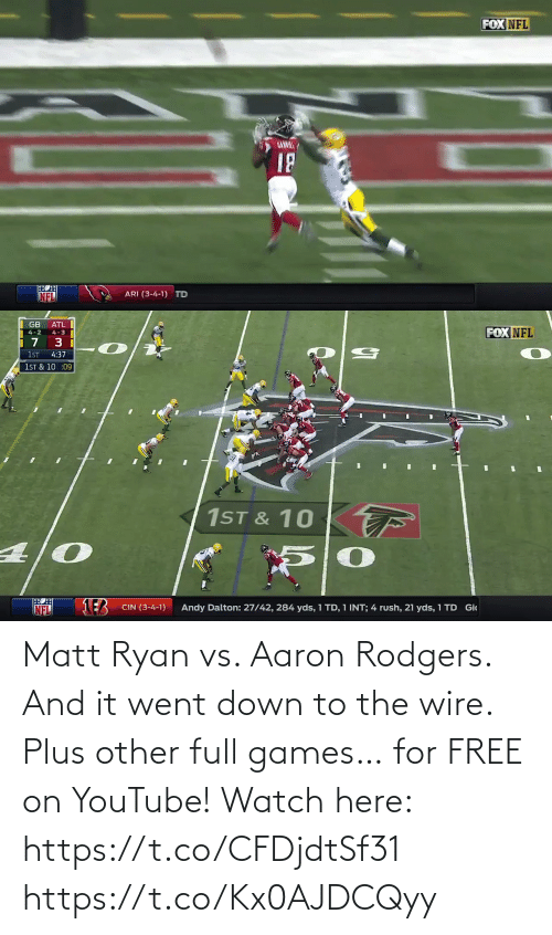 Aaron Rodgers: Matt Ryan vs. Aaron Rodgers. And it went down to the wire. Plus other full games… for FREE on YouTube!  Watch here: https://t.co/CFDjdtSf31 https://t.co/Kx0AJDCQyy