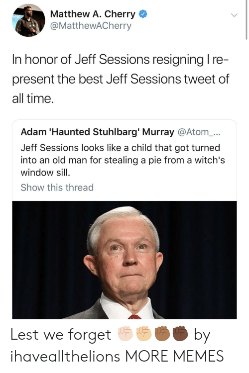 jeff sessions: Matthew A. Cherry <  @MattheWACherry  In honor of Jeff Sessions resianina I re  present the best Jeff Sessions tweet of  all time  Adam 'Haunted Stuhlbarg' Murray @Atom_...  Jeff Sessions looks like a child that got turned  into an old man for stealing a pie from a witch's  window sill  Show this thread Lest we forget ✊🏻✊🏼✊🏾✊🏿 by ihaveallthelions MORE MEMES