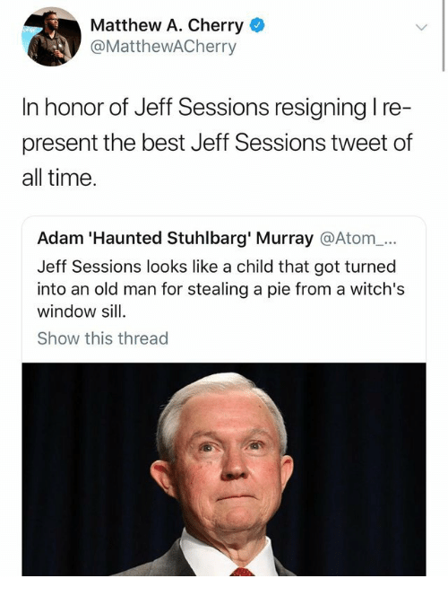 jeff sessions: Matthew A. Cherry  @MatthewACherry  In honor of Jeff Sessions resigning l re-  present the best Jeff Sessions tweet of  all time  Adam 'Haunted Stuhlbarg' Murray @Atom_...  Jeff Sessions looks like a child that got turned  into an old man for stealing a pie from a witch's  window sill  Show this thread