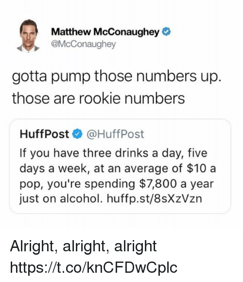 Matthew McConaughey: Matthew McConaughey  @McConaughey  gotta pump those numbers up.  those are rookie numbers  HuffPost @HuffPost  If you have three drinks a day, five  days a week, at an average of $10 a  pop, you're spending $7,800 a year  just on alcohol. huffp.st/8sXzVzn Alright, alright, alright https://t.co/knCFDwCplc