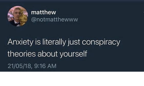 conspiracy theories: matthew  @notmatthewww  Anxiety is literally just conspiracy  theories about yourself  21/05/18, 9:16 AM