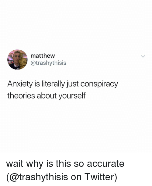 conspiracy theories: matthew  @trashythisis  Anxiety is literally just conspiracy  theories about yourself wait why is this so accurate (@trashythisis on Twitter)