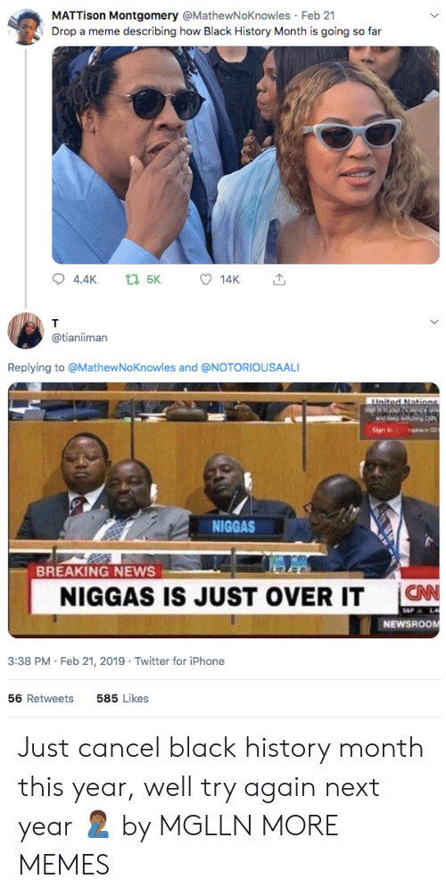 Black History Month: MATTison Montgomery @MathewNoKnowles Feb 21  Drop a meme describing how Black History Month is going so far  14K  @tianiiman  Replying to @MathewNoKnowles and @NOTORIOUSAALI  NIGGAS  BREAKING NEWS  NIGGAS IS JUST OVER IT C  CNN  NEWSROOM  3:38 PM-Feb 21, 2019 Twitter for iPhone  56 Retweets  585 Likes Just cancel black history month this year, well try again next year 🤦🏾‍♂️ by MGLLN MORE MEMES