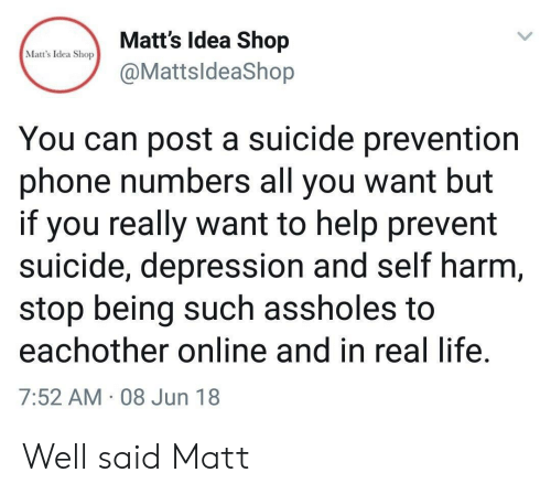 Harm: Matt's Idea Shop  Matt's Idea Shop  @MattsldeaShop  You can post a suicide prevention  phone numbers all you want but  if you really want to help prevent  suicide, depression and self harm,  stop being such assholes to  eachother online and in real life.  7:52 AM 08 Jun 18 Well said Matt