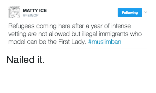 illegible: MATTY ICE  Following  @FailGOP  Refugees coming here after a year of intense  vetting are not allowed but illegal immigrants who  model can be the First Lady. Nailed it.