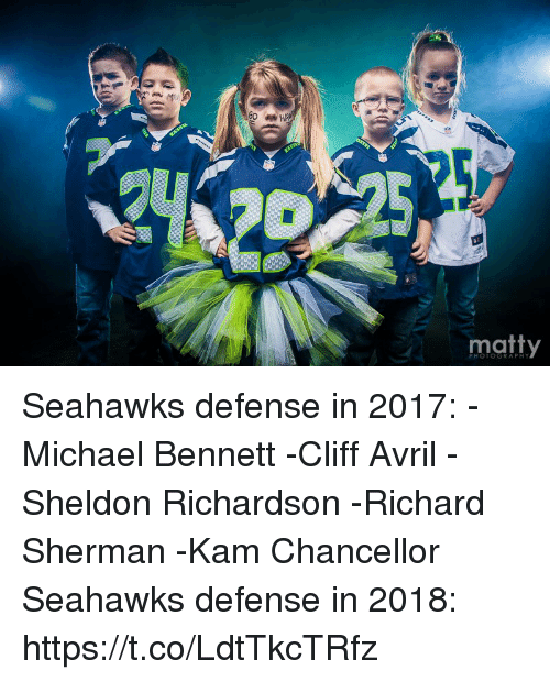 Cliff Avril, Michael Bennett, and Richard Sherman: matty  PHOTOGRAPHY Seahawks defense in 2017: -Michael Bennett -Cliff Avril  -Sheldon Richardson -Richard Sherman -Kam Chancellor  Seahawks defense in 2018: https://t.co/LdtTkcTRfz