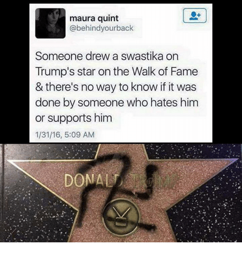 Star, Stars, and Trump: maura quint  abehindyourback  Someone drew a swastika on  Trump's star on the Walk of Fame  & there's no way to know if it was  done by someone who hates him  or supports him  1/31/16, 5:09 AM  DON ALT