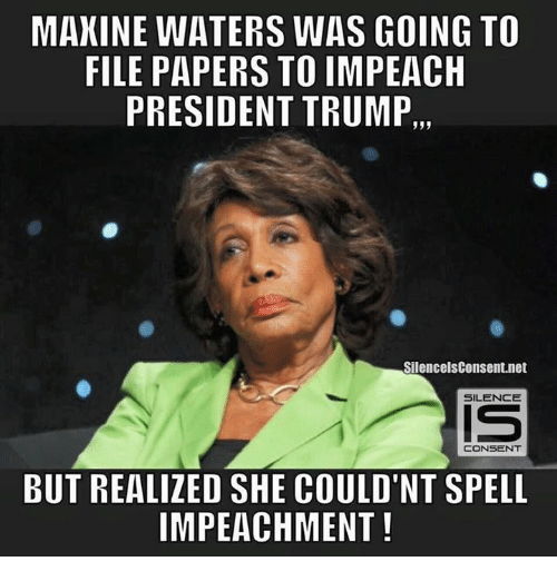 Memes, 🤖, and Net: MAXINE WATERS WAS GOING TO  FILE PAPERS  TO IMPEACH  PRESIDENT TRUMP,,,  SilencelsConsent.net  SILENCE  CONSENT  BUT REALIZED SHE COULD'NT SPELL  IMPEACHMENT