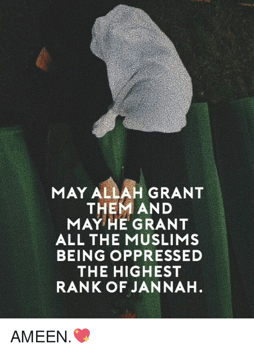 Memes, All The, and 🤖: MAY ALLAH GRANT  THEM AND  MAY HE GRANT  ALL THE MUSLIMS  BEING OPPRESSED  THE HIGHEST  RANK OF JANNAH AMEEN.💖