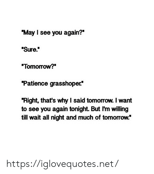 "See You Again: ""May I see you again?""  ""Sure""  Tomorrow?  Patience grasshoper*  ""Right, that's why I said tomorrow. I want  to see you again tonight. But I'm willing  till wait all night and much of tomorrow."" https://iglovequotes.net/"