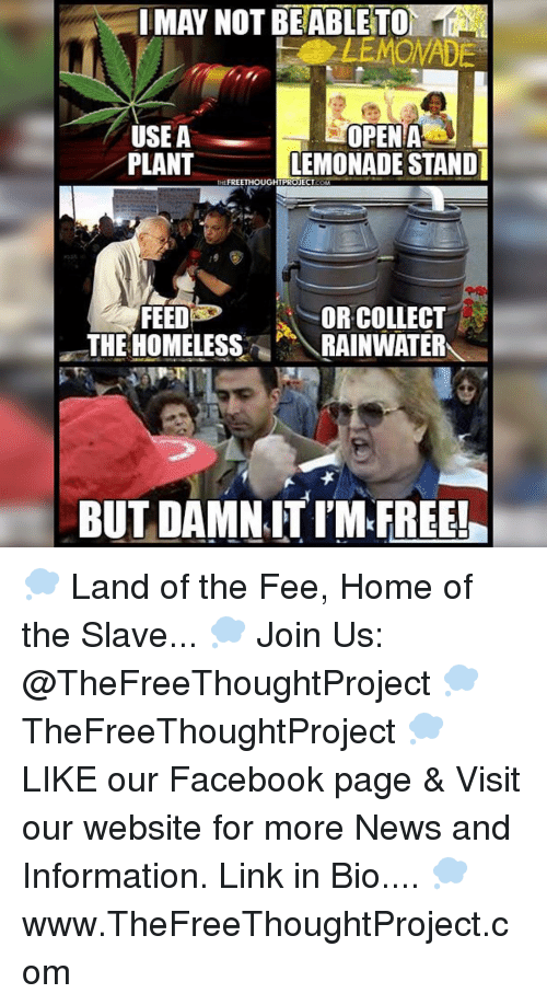 Memes, Lemonade, and 🤖: MAY NOT BEABLETO  OPEN A  USEA  PLANT  LEMONADE STANDI  FREETHOUGHT PROJECT  COM  FEED  OR COLLECT  THE HOMELESS  RAINWATER  BUT DAMN ITIM FREE! 💭 Land of the Fee, Home of the Slave... 💭 Join Us: @TheFreeThoughtProject 💭 TheFreeThoughtProject 💭 LIKE our Facebook page & Visit our website for more News and Information. Link in Bio.... 💭 www.TheFreeThoughtProject.com