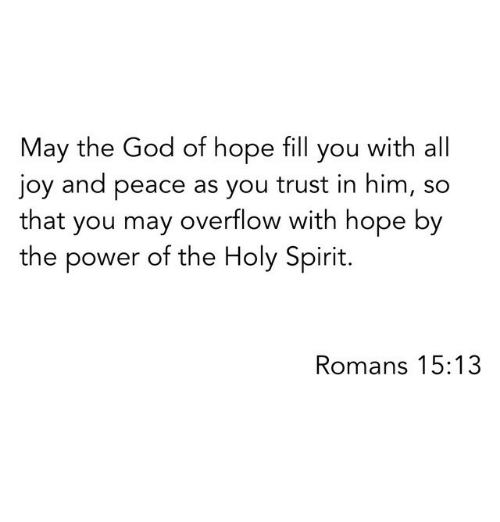 holy spirit: May the God of hope fill you with all  joy and peace as you trust in him, so  that you may overflow with hope by  the power of the Holy Spirit.  Romans 15:13