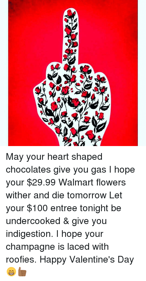 Roofy: May your heart shaped chocolates give you gas I hope your $29.99 Walmart flowers wither and die tomorrow Let your $100 entree tonight be undercooked & give you indigestion. I hope your champagne is laced with roofies. Happy Valentine's Day 😁👍🏾