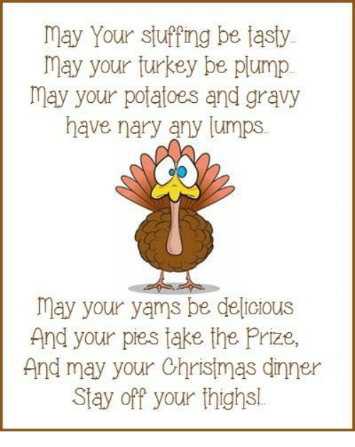 Memes, Yams, and Potato: may Your stuffing be tasty  may your turkey be plump  may your potatoes and gravy  have nary any lumps  may your yams be delicious  And your pies take the Prize,  And may your Christmas dinner  Stay off your thighsl.
