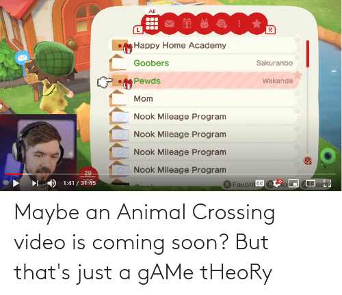 game theory: Maybe an Animal Crossing video is coming soon? But that's just a gAMe tHeoRy
