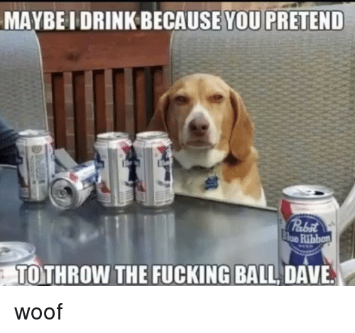Lue: MAYBE I DRINK BECAUSE  YOU PRETEND  lue Ribbon  TOTHROW THE FUCKING BALL DAVE woof