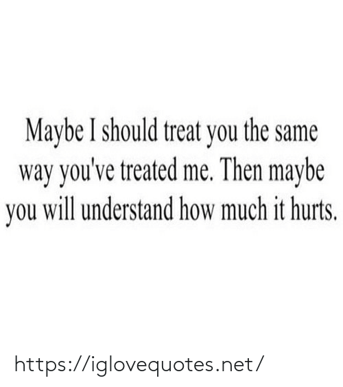 How Much: Maybe I should treat you the same  way you've treated me. Then maybe  you will understand how much it hurts. https://iglovequotes.net/