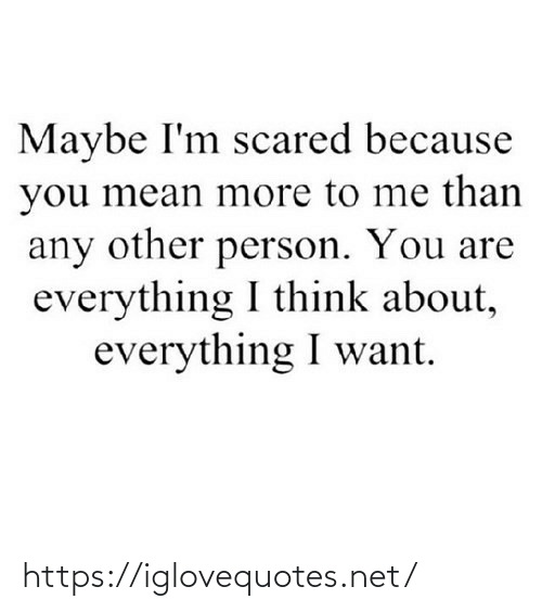 You Mean: Maybe I'm scared because  you mean more to me than  any other person. You are  everything I think about,  everything I want. https://iglovequotes.net/