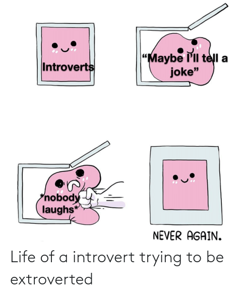 "introverts: ""Maybe l'll telI a  joke""  Introverts  nobody  laughs*  NEVER AGAIN. Life of a introvert trying to be extroverted"