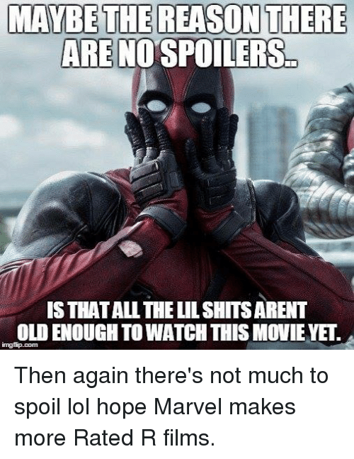 Dank Memes: MAYBE THE REASON THERE  ARE NOSPOILERS  IS THATALL THE LILSHITSARENT  OLDENOUGHTO WATCH THIS MOVIE YE.  imgflp.com Then again there's not much to spoil lol hope Marvel makes more Rated R films.