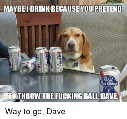 Lue: MAYBEI DRINK BECAUSE YOU PRETEND  lue Ribbon  TOTHROW THE FUCKING BALL DAVE Way to go, Dave