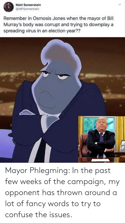 mayor: Mayor Phlegming: In the past few weeks of the campaign, my opponent has thrown around a lot of fancy words to try to confuse the issues.