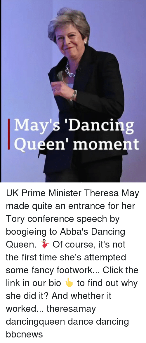 Tory: May's 'Dancing  Queen' moment UK Prime Minister Theresa May made quite an entrance for her Tory conference speech by boogieing to Abba's Dancing Queen. 💃🏻 Of course, it's not the first time she's attempted some fancy footwork... Click the link in our bio 👆 to find out why she did it? And whether it worked... theresamay dancingqueen dance dancing bbcnews