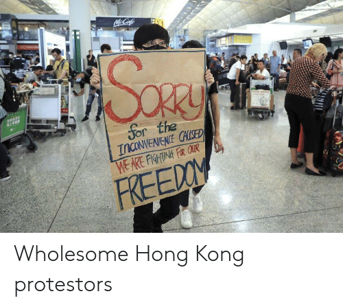 Inconvenience: McCafe  MA  Sor the  INCONVENIENCE CHLISED  WE ARE FISHTING FR QUR  FREEDOM Wholesome Hong Kong protestors