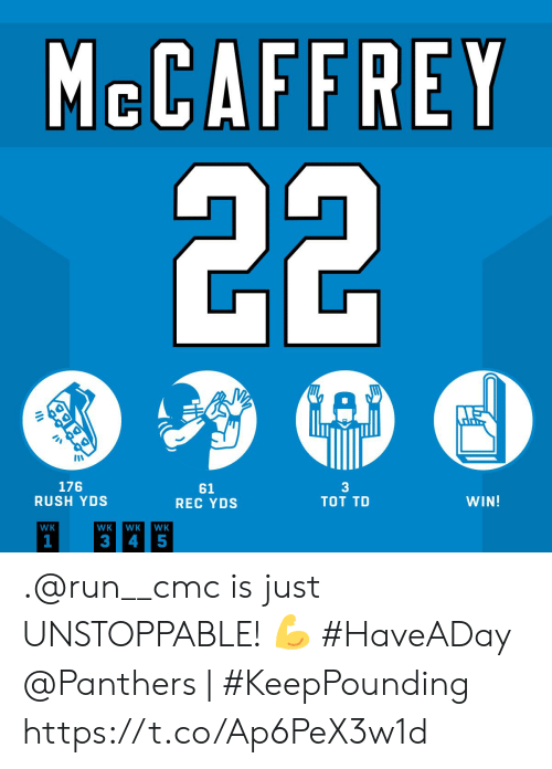 unstoppable: MCCAFFREY  22  A  3  TOT TD  176  RUSH YDS  61  REC YDS  WIN!  WK  WK  WK  WK  1  3  4 5 .@run__cmc is just UNSTOPPABLE! 💪 #HaveADay  @Panthers | #KeepPounding https://t.co/Ap6PeX3w1d
