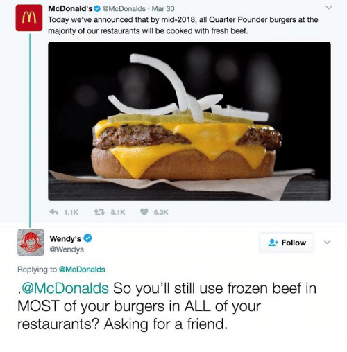 Beef: McDonald's  @McDonalds Mar 30  Today we've announced that by mid-2018, all Quarter Pounder burgers at the  majority of our restaurants will be cooked with fresh beef.  1.1K 5.1K  6.3K  Wendy's  Follow  @Wendys  Replying to @McDonalds  McDonalds  So you'll still use frozen beef in  MOST of your burgers in ALL of your  restaurants? Asking for a friend.