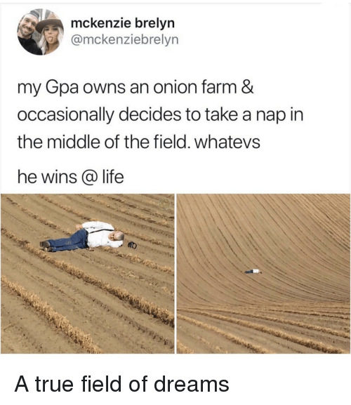 Whatevs: mckenzie brelyn  @mckenziebrelyn  my Gpa owns an onion farm &  occasionally decides to take a nap in  the middle of the field. whatevs  he wins @ life A true field of dreams